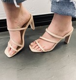 Kylie Nude 3 Strap Square Toe Heel