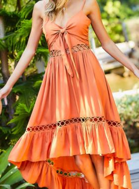Beachy Dreams Dusty Orange Hi-Low Dress