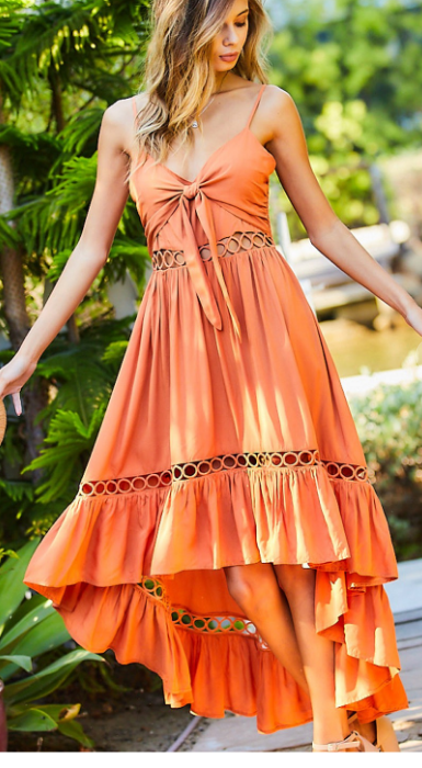 Beachy Dreams Dusty Orange Hi-Low Dress
