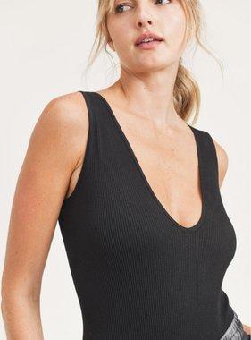 Ribbed Seamless Scoop-Neck Bodysuit Black