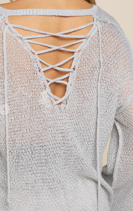 Beach Night Babe Tie-Back Sweater Dove Grey