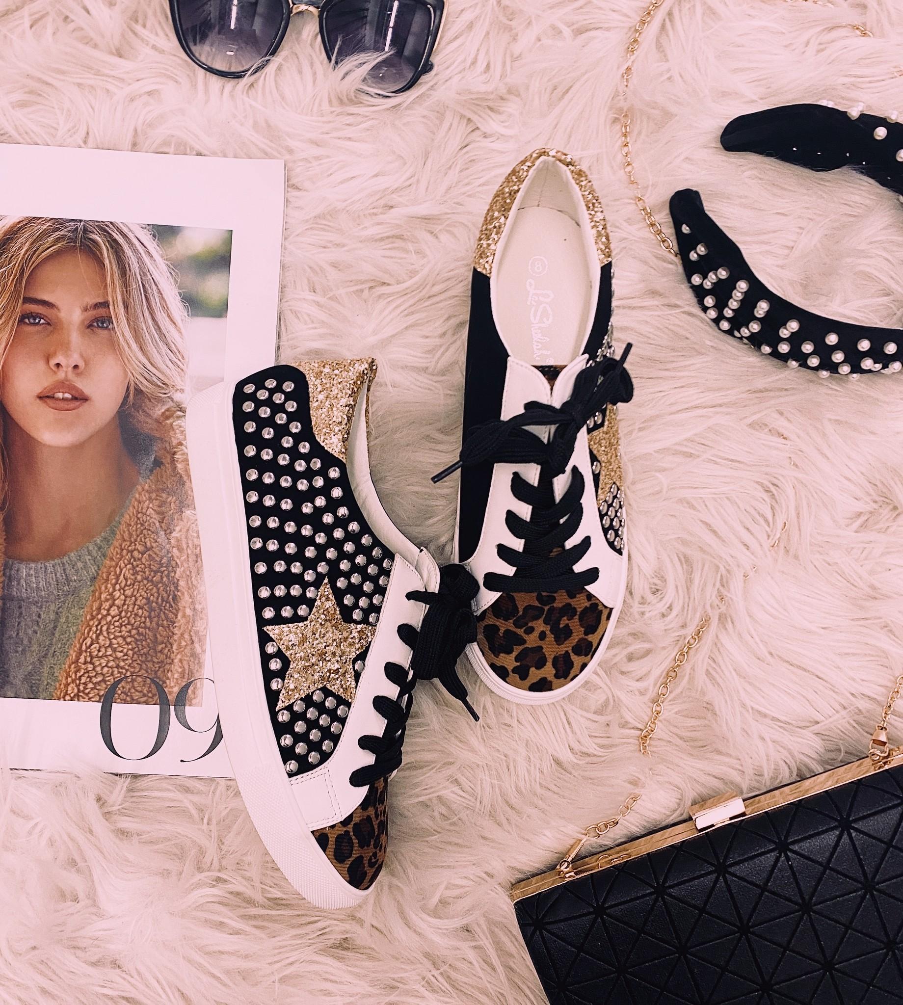 Black Leopard Gold Star Sneaker