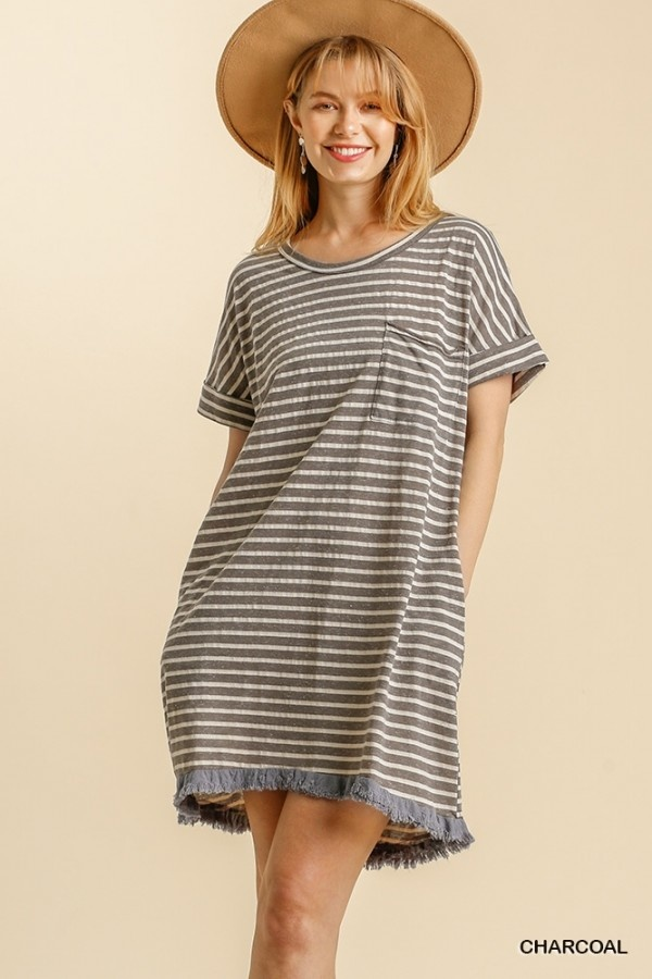 Cruising The Seas Charcoal Striped Dress