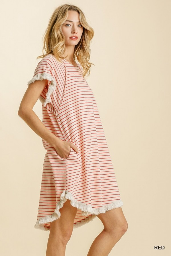 Find Me On The Yacht Red Striped Dress