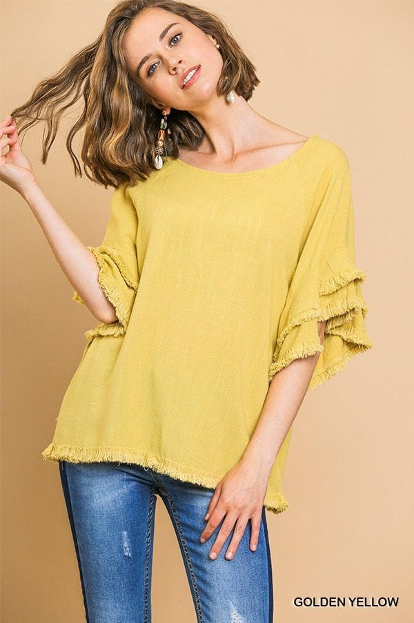 Ruffled My Feathers SS Top (MORE COLORS)