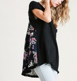 Watch Your Back Black Floral Top