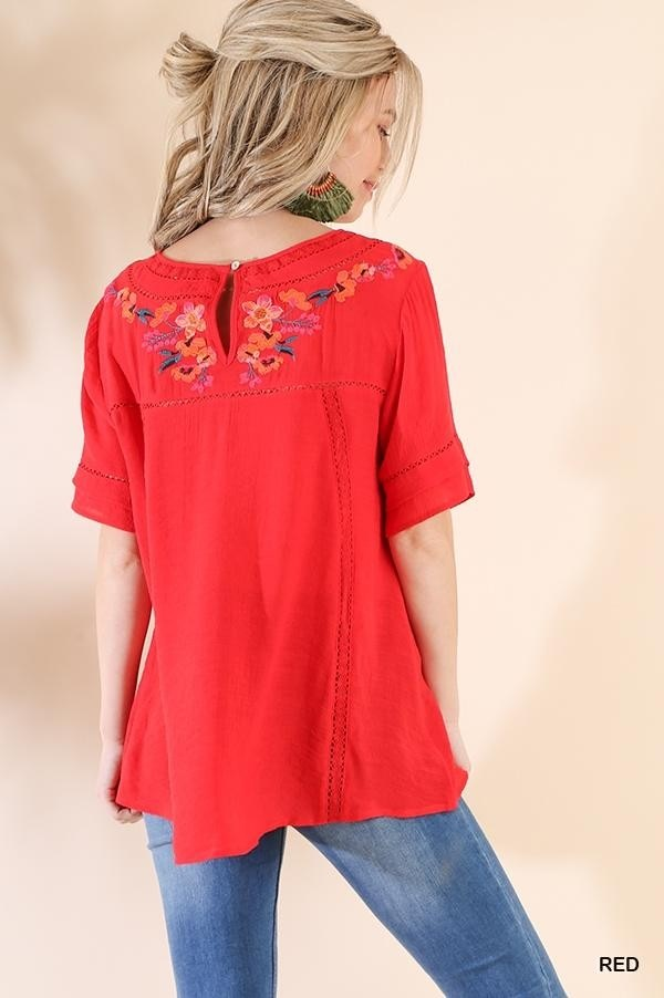 Secret Garden Red Embroidered Top