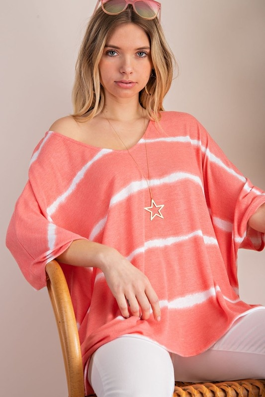 Bahama Mama Coral Striped Top
