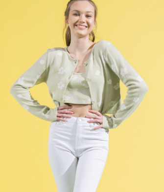 Field Of Daisies Green Cardigan Top