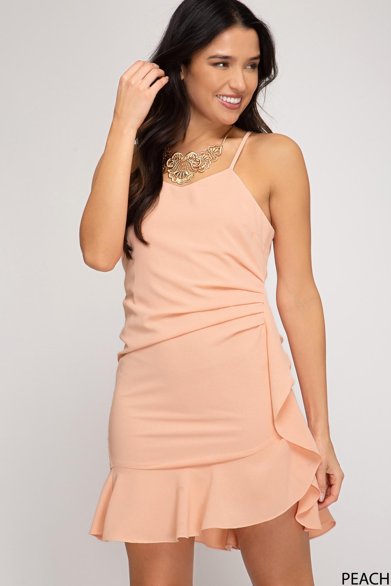Pretty As A Peach Ruffle Dress