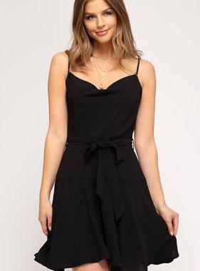 Love Me Always & Forever Black Cowl Neck Dress