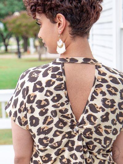 Spill The Tea Leopard Keyhole Back Top