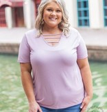 Out & About Caged Lavender Tee