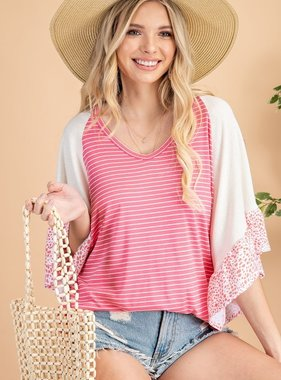 The Heart Is Calling Coral Striped Top