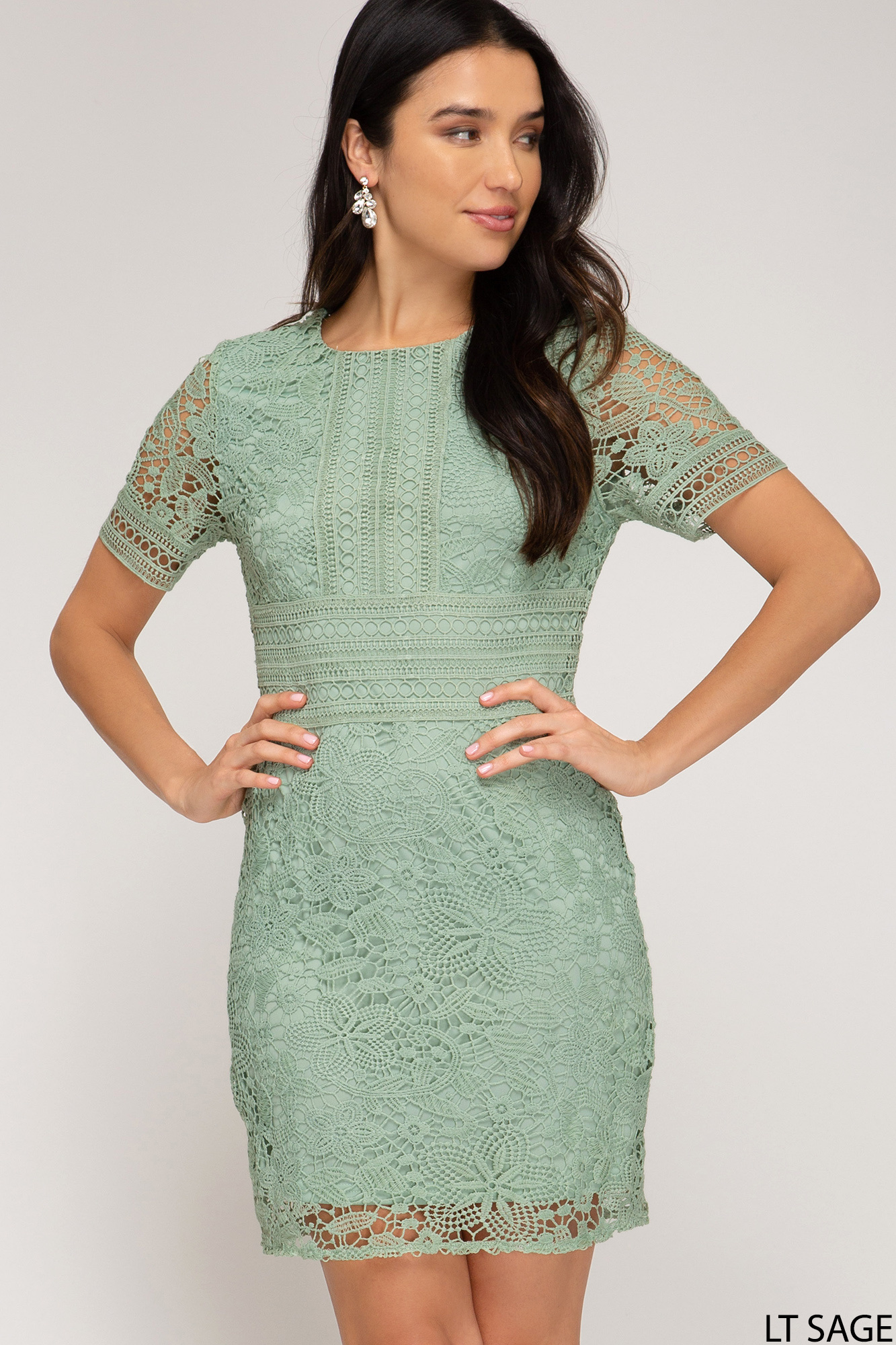 Sage Lace/Crochet Dress