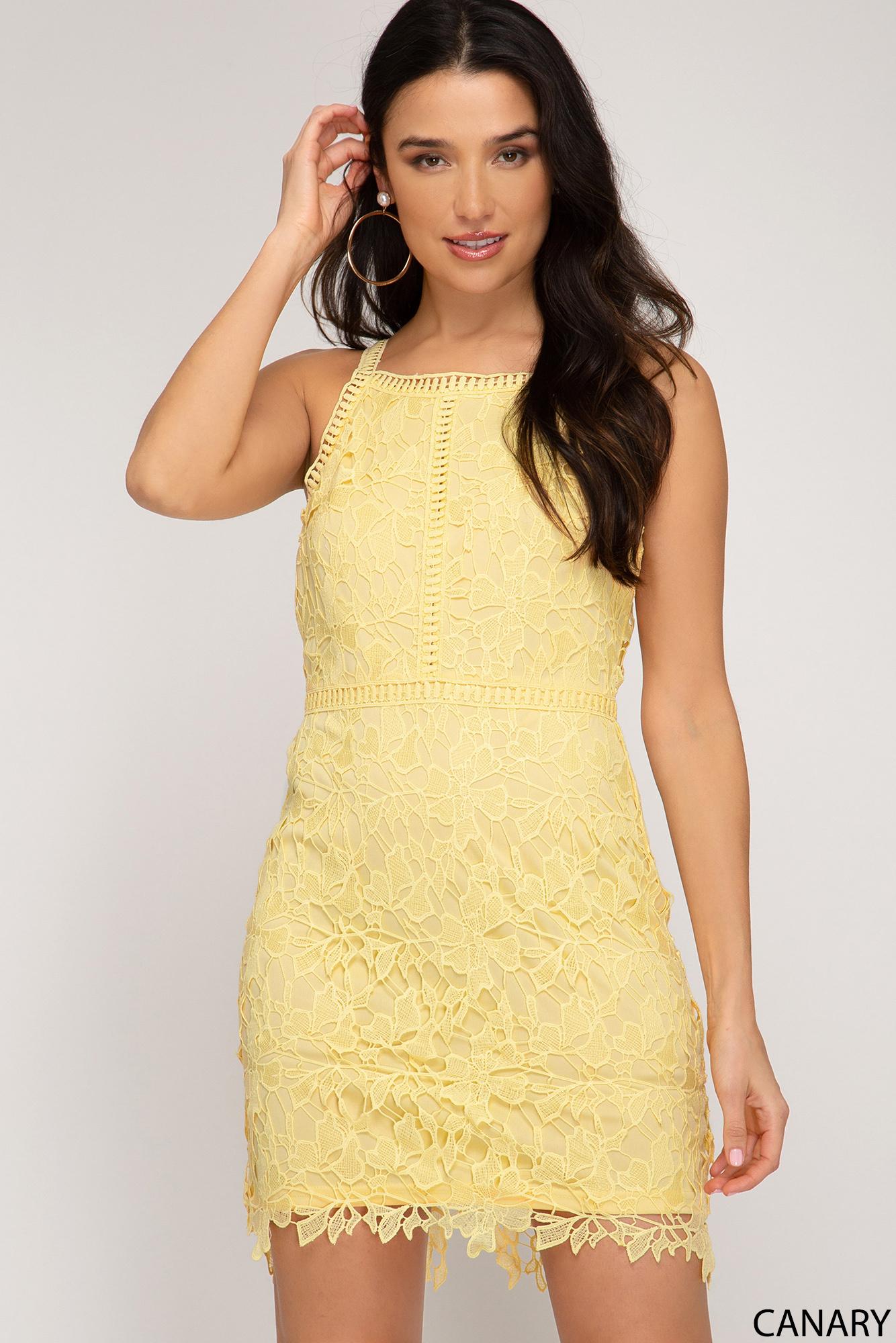 Canary Yellow Lace Dress