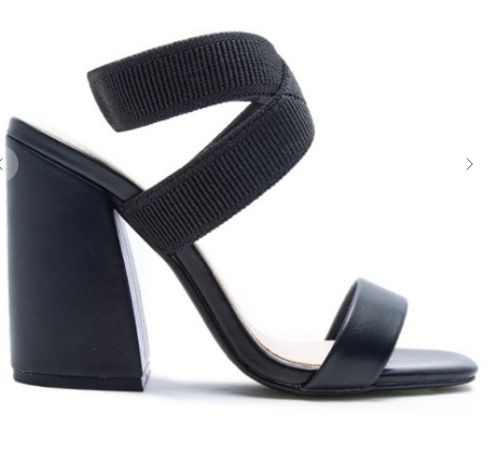 Greta Black Blocked Heel Sandal
