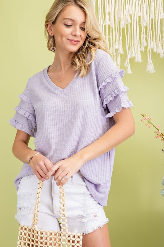 Lavender Ruffled Sleeve SS Top