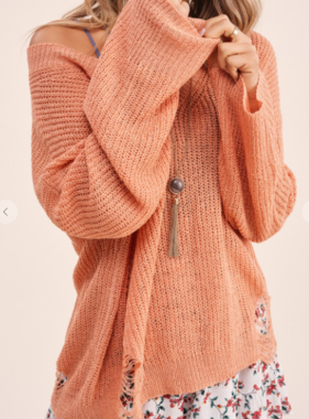All Things Sweet Grapefruit Distressed Sweater