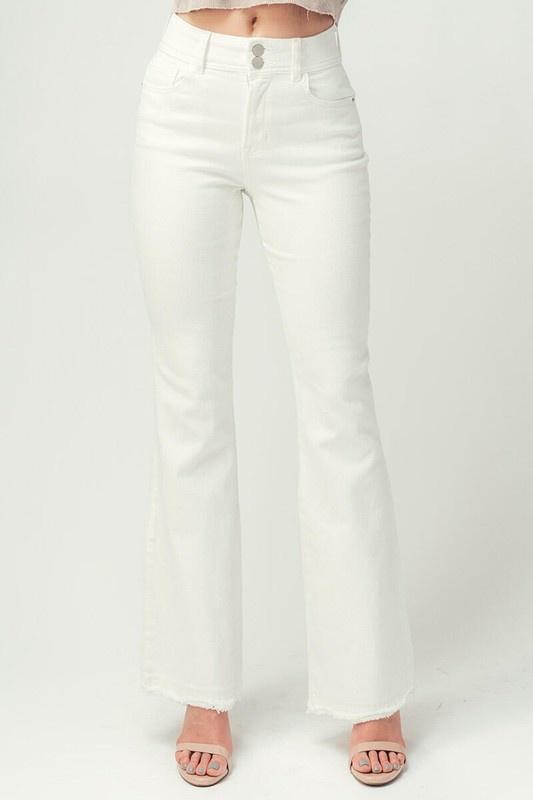 White High Rise Bell Bottom Jeans