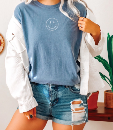 Smiley Face Denim T-Shirt