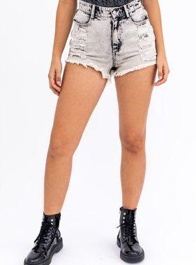 Acid Grey Distressed Shorts