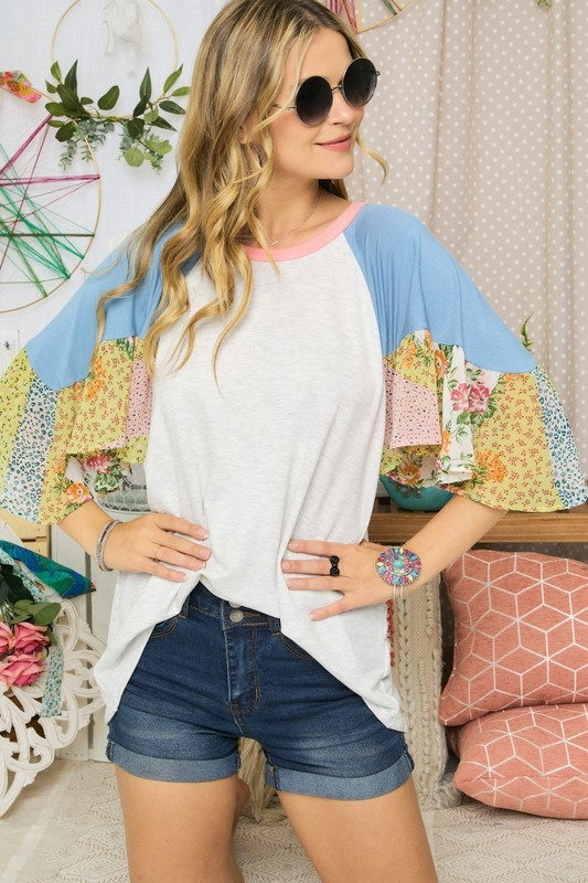 Thriving Today Floral Mix Top