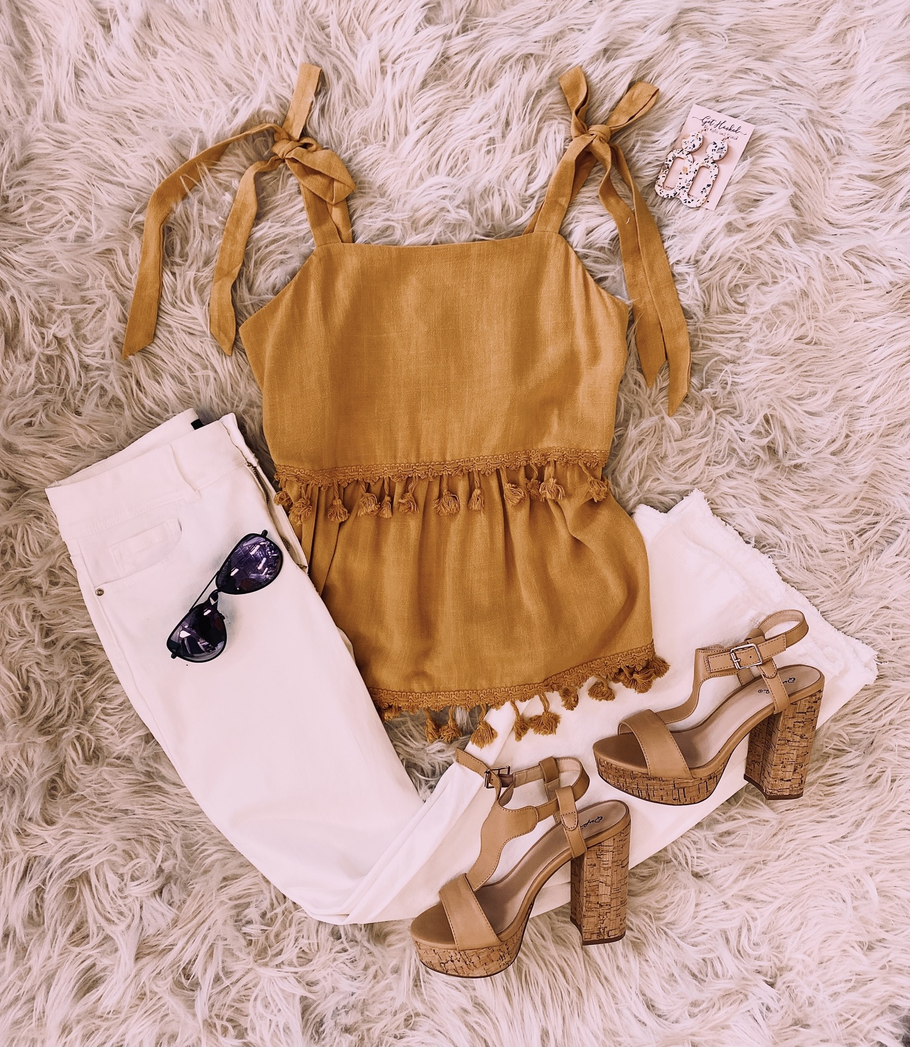 Sunny and 75 Tassled Yellow Cami Top