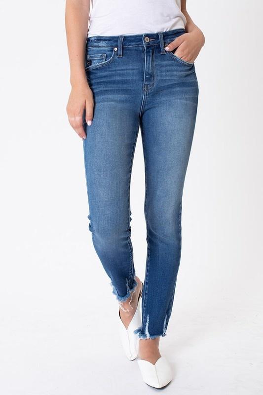 KanCan High Rise Fray Hem Ankle Skinny Jeans