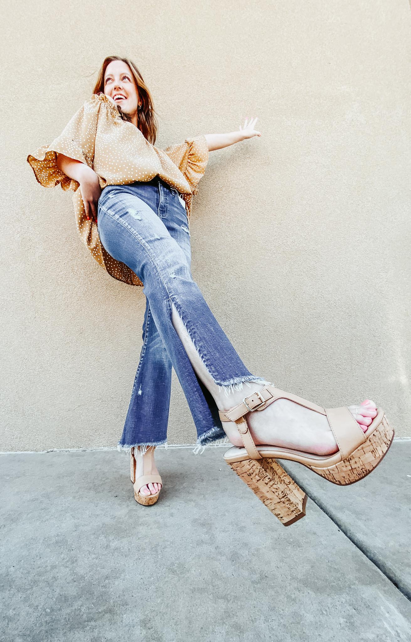 Marine Split Leg Jeans