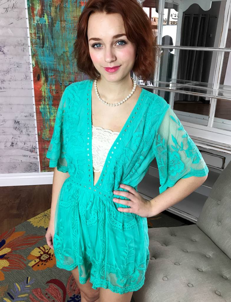 Turquoise Deep V Lace Romper