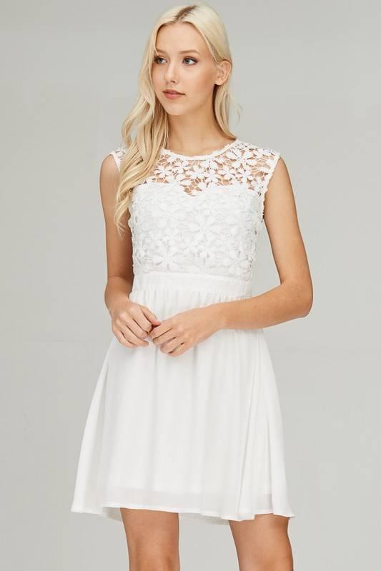 Off White Floral Crochet Dress