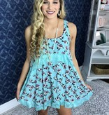 Sky Blue Floral and Lace Sleeveless Tunic