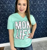 Mint Floral Mom Life V-Neck Graphic Tee