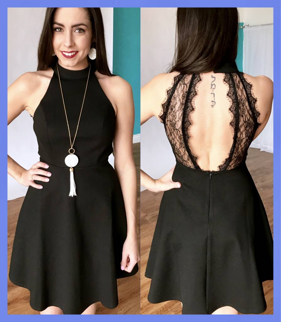 Black Sleeveless Open Back Dress with Lace Contrast