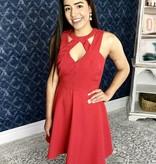 Red Textured Keyhole Criss Cross Sleeveless Dress