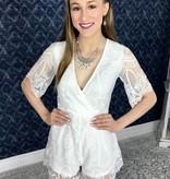 White Elegant Lace Romper