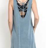 Blue Faded Strappy Back Tank Top