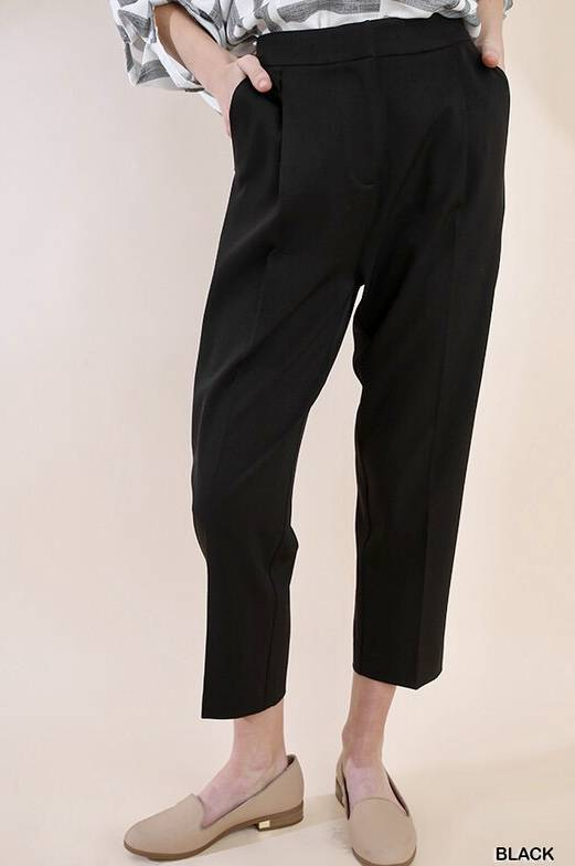 Black High Waist Plaited Trouser Pants