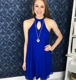 Royal Blue Keyhole Sleeveless Dress
