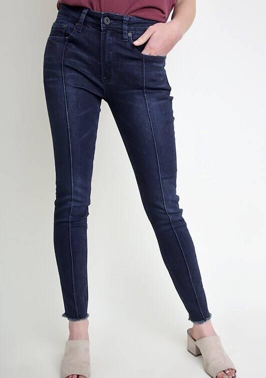 Dark Wash Front Line Fringed Bottom Jeans
