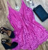 Pink Floral Mesh Romper