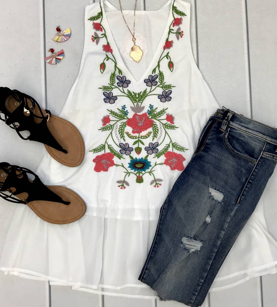 White Sleeveless V-Neck Top with Floral Embroidery