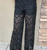 Black Crochet Sheer Pants