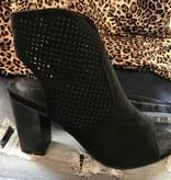 Black Suede Peep-Toe Heel