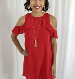 Red Cold Shoulder Ruffle Sleeve Dress-SALE ITEM