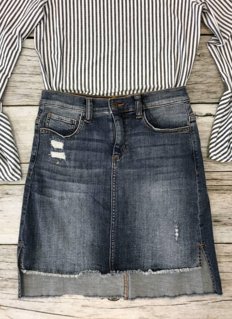 Light Denim Distressed Hi Lo Skirt- SALE ITEM