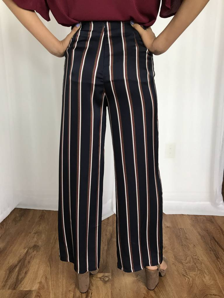 Navy High Rise Striped Pant- SALE ITEM