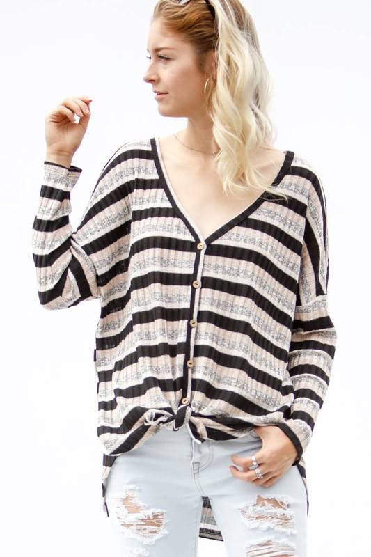 Taupe/Black/Grey Striped Button Up LS Ribbed Top- SALE ITEM