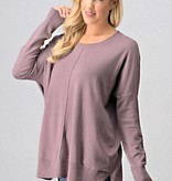 Dusty Purple Crew Neck Sweater Top